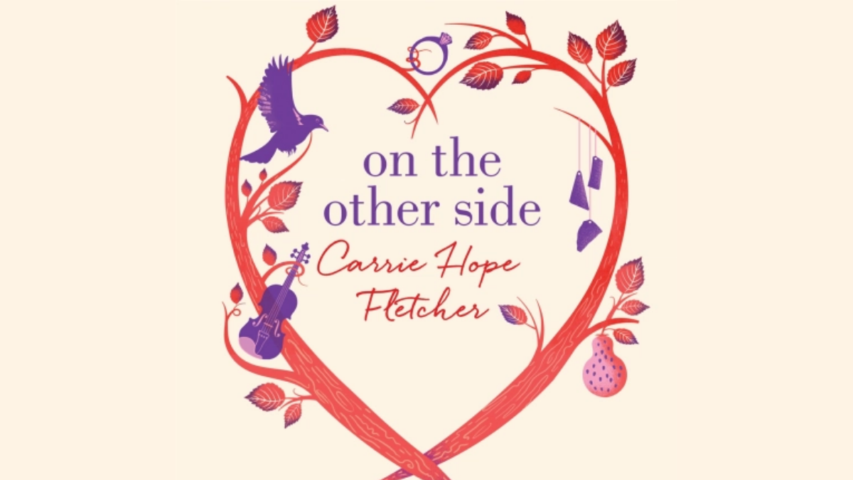The cream coloured cover of 'On the Other Side', showing a red love heart outline in the middle and text inside which reads, 'On the Other Side, Carrie Hope Fletcher'.
