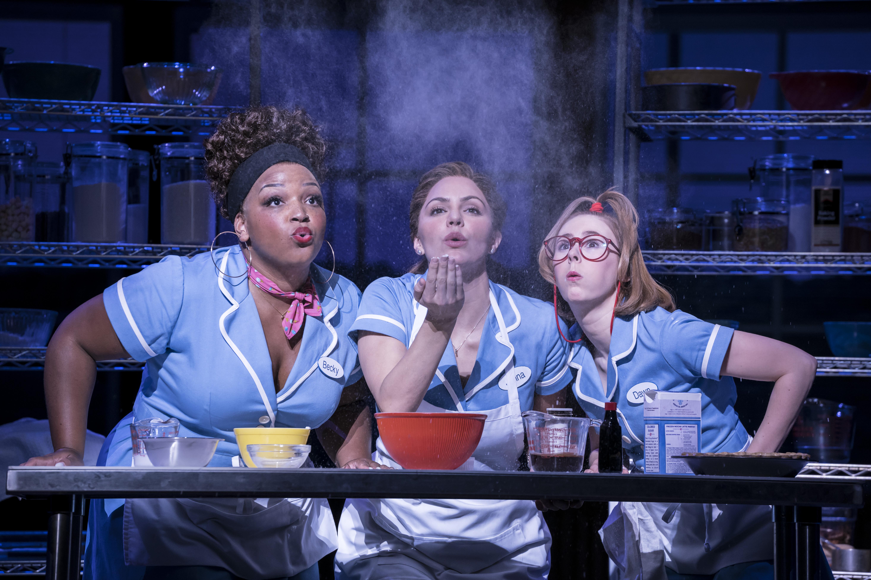 Three waitresses behind a kitchen desk.