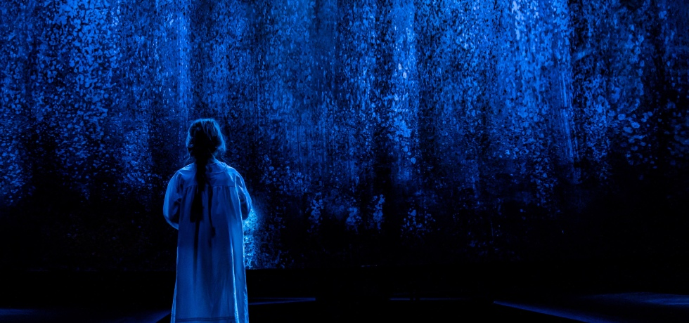 A young girl dressed in a nightrobe has her back to the camera as she stares at what appear to be blue vines hanging from the ceiling. The photo is dark, and the whole photo is lit in a blue light.