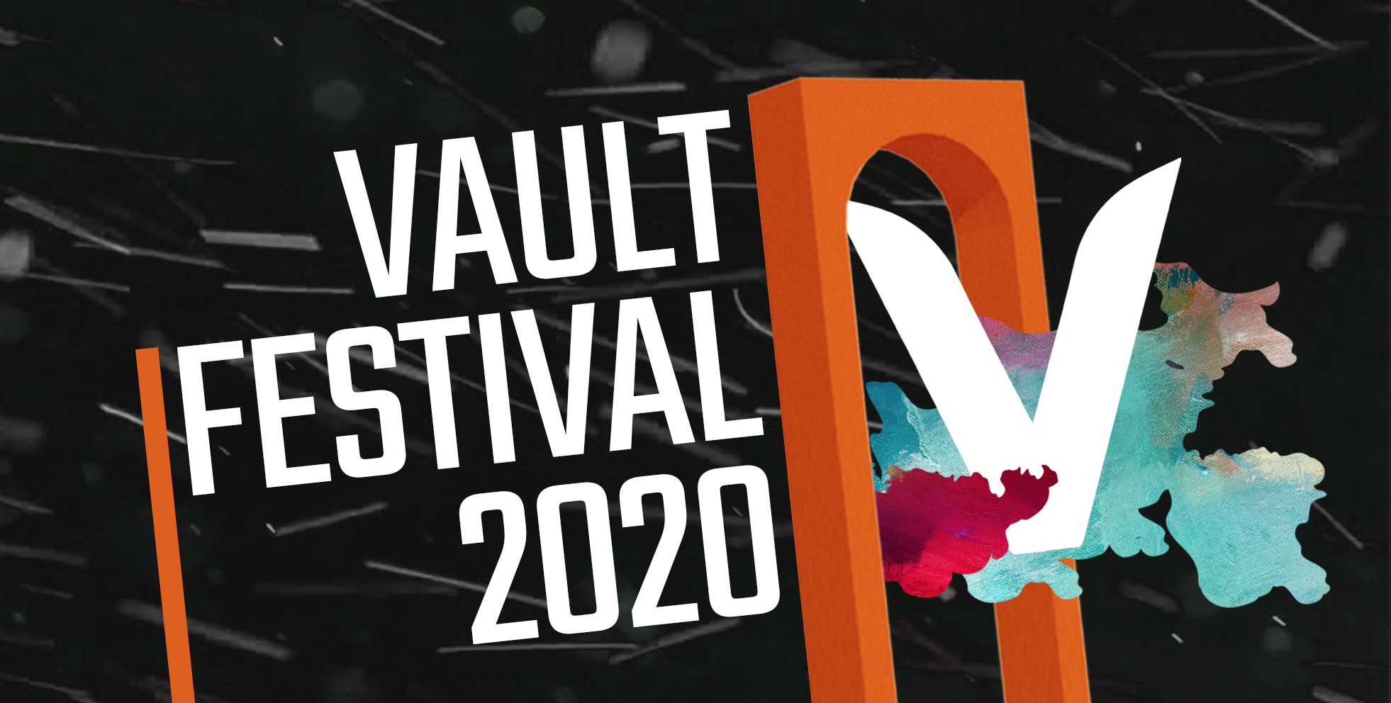 The text Vault Festival 2020, with a giant V next to it, underneath an illustration of an orange arch. It is the Vault Festival logo.