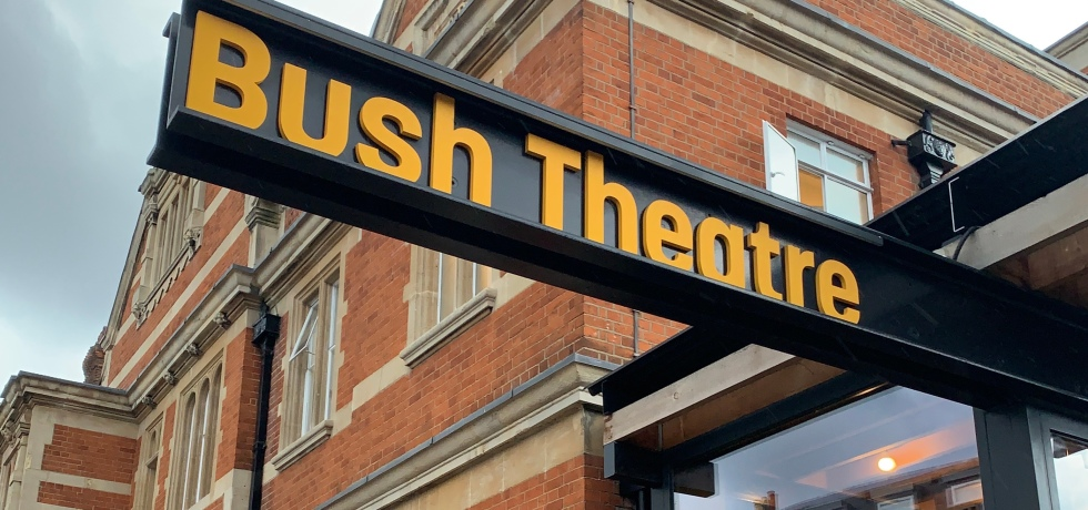 Signage for the Bush Theatre in London.