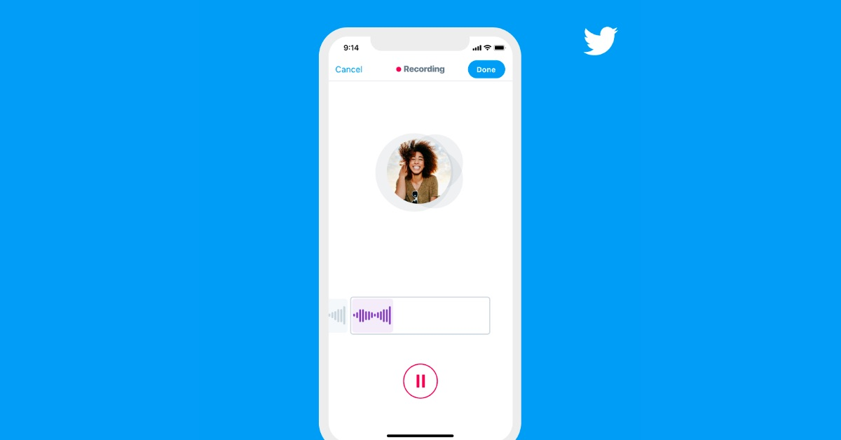 A graphic showing Twitter's voice record setting on an iPhone.