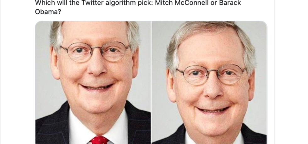 Screenshot of a Tweet showing a white man, Mitch McConnell, smiling in both photos. Text above the two photos reads: Which will the Twitter algorithm pick: Mitch McConnell or Barack Obama?