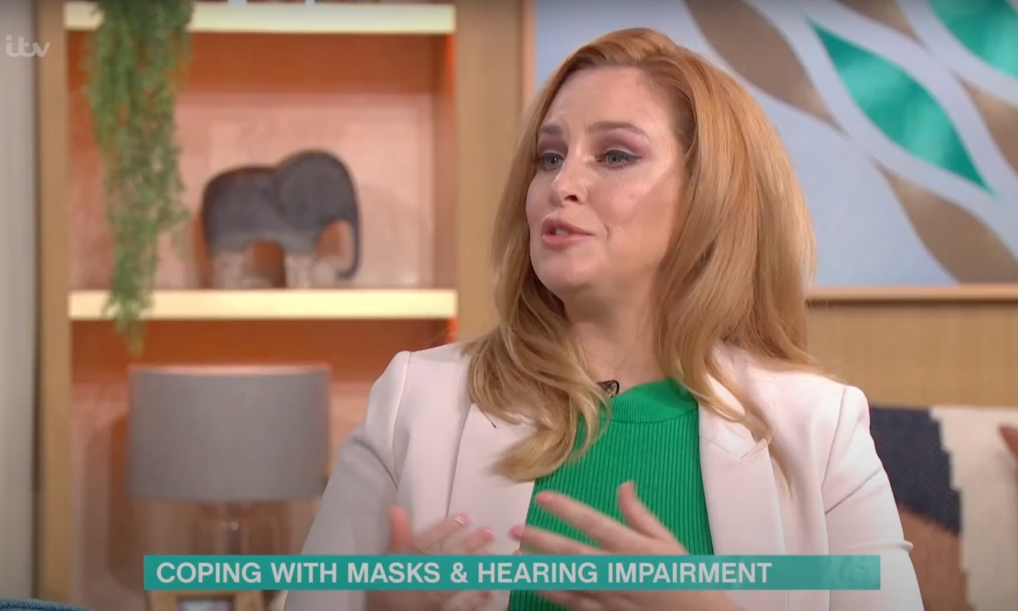 Josie Gibson on This Morning. Strapline text reads 'Coping with masks & hearing impairment'.