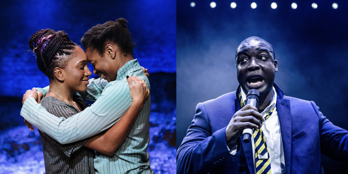 On the left, two black woman embrace lovingly. On the right, a man in a blue suit and yellow tie - as if at school - speaks into a microphone.