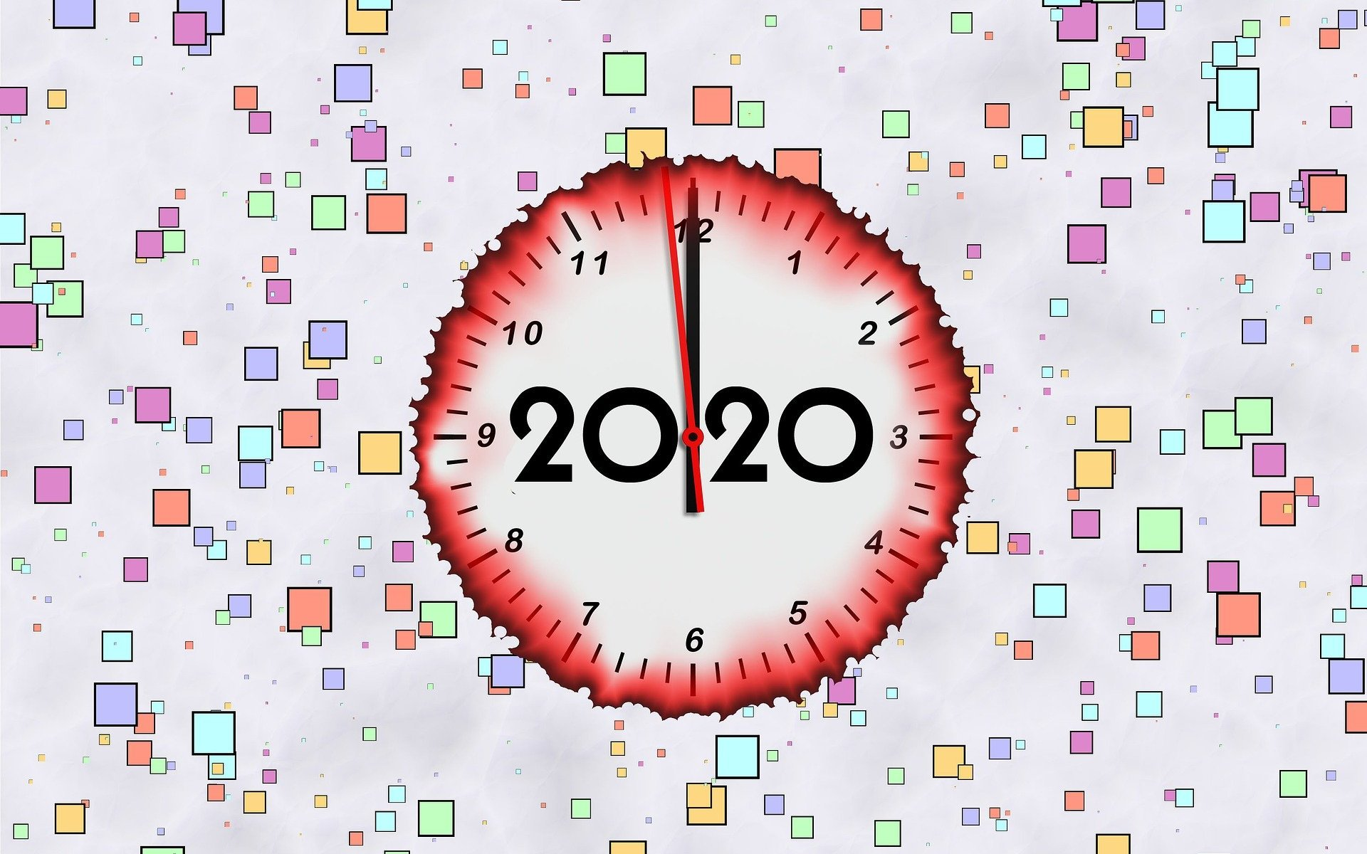 Loads of small, multicoloured squares cover the screen. In the middle is a clock with 2020 in the middle. The outline of the clock is red and fluid.