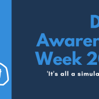 On the right, horizontal text reads: 'Deaf Awareness Week 2021. It's all a simulation (not really)'. On the left, in a column, is an illustration of two hands signing and text, angled vertically, which reads: 'Liam O'Dell, Freelance Journalist and Campaigner'.