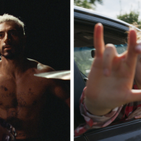Left, Riz Ahmed, a British Pakistani man, sits half naked behind a drum kit. Right, A young blonde girl leans out of a car and shows her right hand with her thumb, pinky, middle and index fingers sticking up. The middle and index are crossed. It's a take on the sign for 'I love you' in sign language.