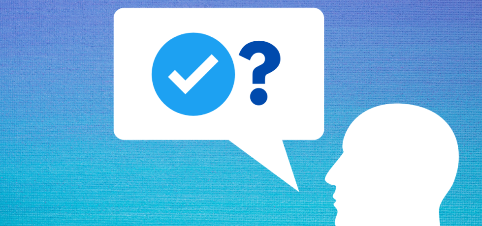 A dark blue to light blue gradient background. In the bottom right is a white outline of a head facing left. To the left of this is a white speech bubble with a blue tick, similar to Twitter's, and a question mark, as if they're asking a question about blue ticks.