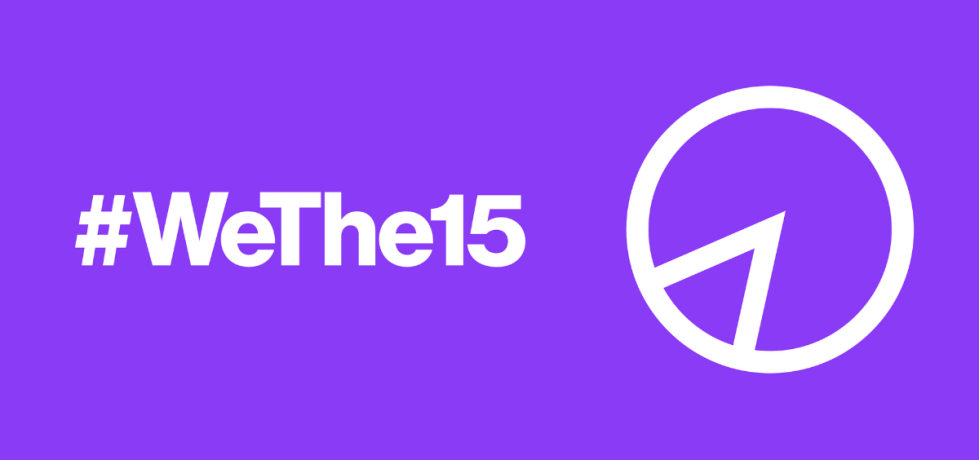 Purple background. On the left is white text, '#WeThe15'. On the right is a pie chart symbol, with a small chunk outlined.