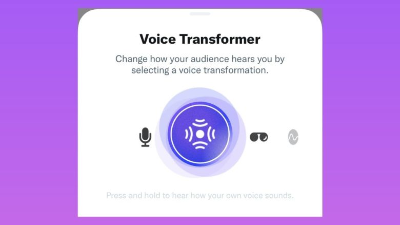 A purple gradient background. In the middle is text which reads: 'Voice Transformer. Change how your audience hears you by selecting a voice transformation.' There is then a slider showing a range of different icons (microphone, echos, sunglasses). Underneath this text says, 'Press and hold to hear how your own voice sounds.'